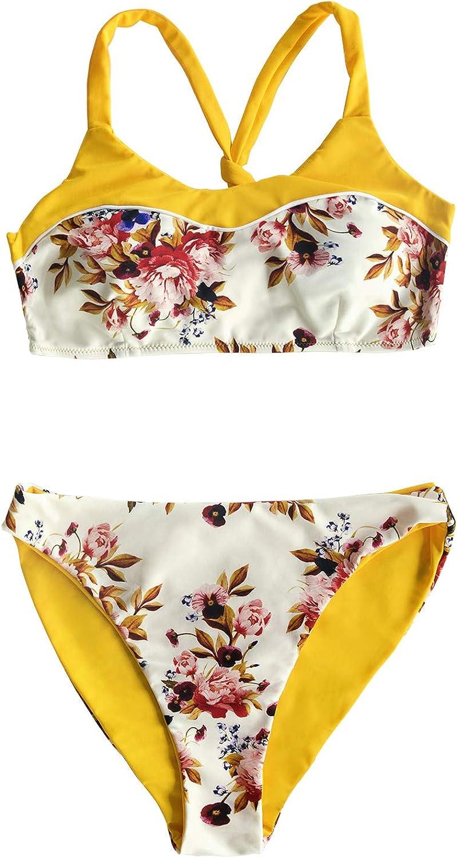 CUPSHE Women's Yellow Floral Print Tank Top Reversible Bottom Bikini