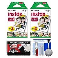 Fujifilm Instax Mini 8、Mini 9、Mini 11、Mini 70、Mini 90インスタントフィルムカメラ用必需品バンドル。ツインカラープリント40枚+アクセサリーキット。