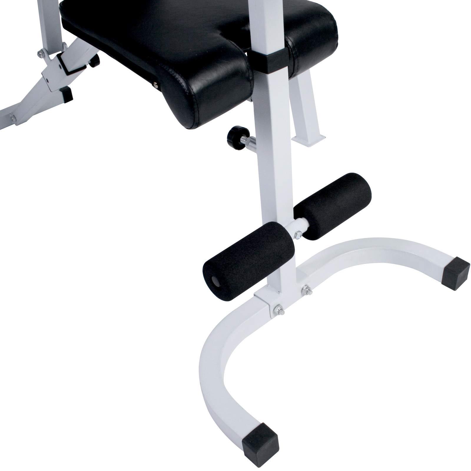 Physionics Banco de Musculación - con Soporte para Pesas, Ajustable (Respaldo de 7 Posiciones, Reposabarras de 5 Posiciones), Carga máx. 255 kg | Banco de Pesas: Amazon.es: Deportes y aire libre