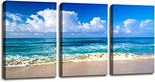 Moyedecor Art - Blue Beach theme Modern Stretched and Framed Seascape 3 panels Giclee Canvas Prints Artwork Landscape Pictures Paintings on Canvas Wall Art for Home Decor Ready To Hang