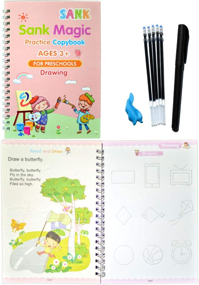 1 Set Pen English Version Magic Practice Copybook Pen,Magic Calligraphy That Can Be Reused Handwriting Copybook Set for Kid Calligraphic Letter Writing