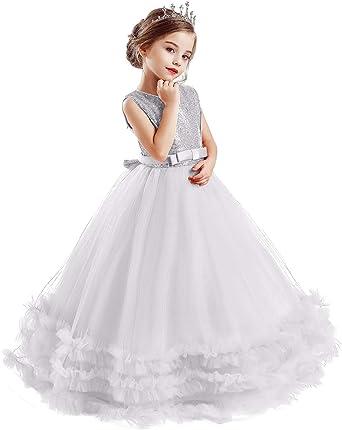 TTYAOVO Chicas Suelo Largo Cordón Princesa Boda Vestir