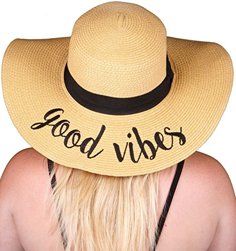 Embroidered Sun Hat - Good Vibes