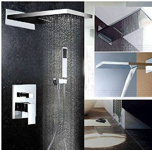Gowe Luxe Chrome Laiton pluie Cascade Ensemble de douche robinet à fixation murale avec douchette en ABS