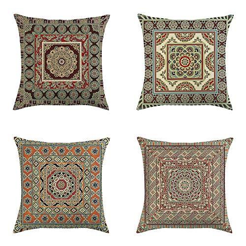 RedAlphabet Coperchio di Cuscino di Lino Arabesque Grigio Arabesque Cover per Cuscino di Lino, 45 * 45 cm, 4 Pezzi (Color : C)