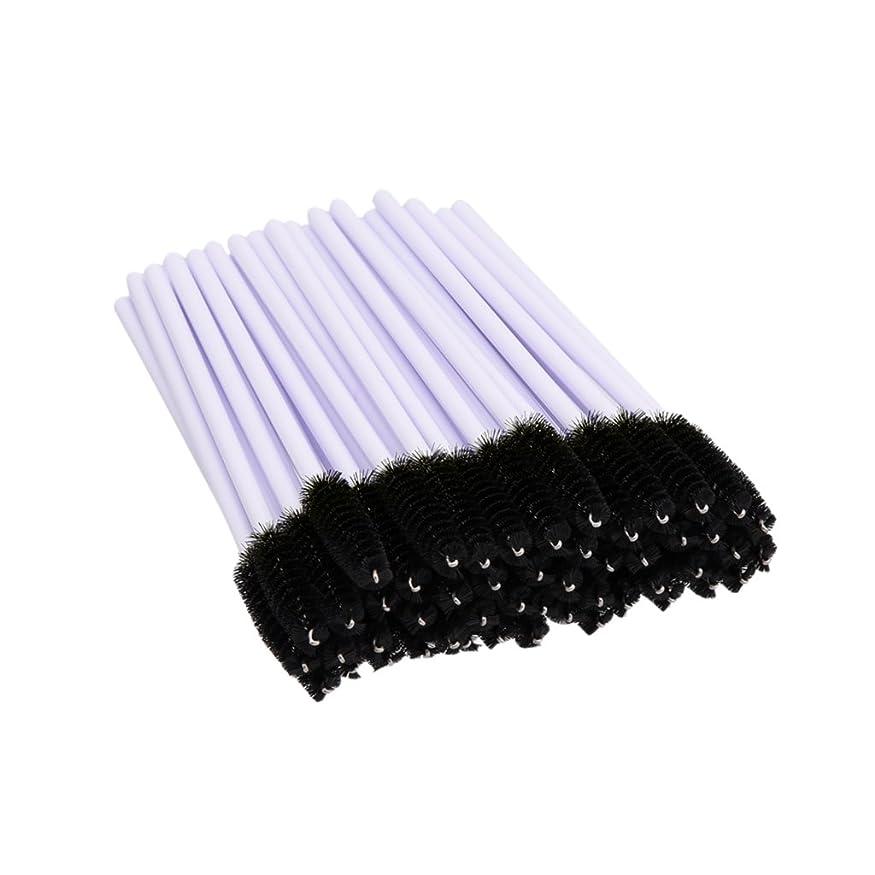 戸惑う偶然の手数料Perfk 約50個 使い捨て まつ毛 エクステンション ブラシ マスカラ ワンド アプリ ケータ セット 便利性 全2色 - ブラック