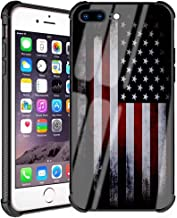 iPhone 8 Plus Case, iPhone 7 Plus Case American Flag Pattern for Men Boys Slim Fit Tempered Glass Back Cover with Soft Silicone TPU Bumper Case for iPhone 7/8 Plus 5.5inch Cool Old Flag
