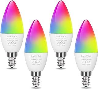 لامپ LED LED لامپ هوشمند E12 Candelabra Bulb WiFi لامپهای LED تغییر دهنده رنگ ، چراغ سقفی قابل تنظیم 40 وات معادل ، روشنایی لوستر هوشمند با الکسا Google Home برای دکوراسیون اتاق منزل (4 بسته)