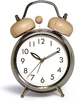 【 木製ツインベルクロック 】【 目覚まし時計 】コチコチ音のしない目覚まし時計 アラームクロック 木のベル 大人の目覚まし時計 アンティーク 心地よい目覚め アナログ シンプル 天然素材 引越し祝い 結婚祝い 就職祝い 入学祝い
