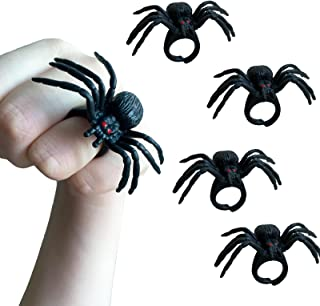Spider Rings Halloween Party Favors, 24 Pcs 1.9in Black Plastic Spider Rings with Red Eye for Kids Costume Accessories Hal...