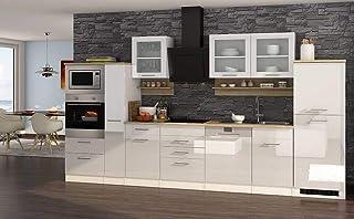 IdealShopping GmbH Küchenblock Mailand 370 Cm Mit Apothekerauszug Weiß  Hochglanz Ohne Elektrogeräte