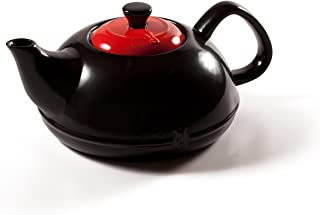 Ceramic Tea Kettle Stove Top by Xtrema - 2.5 Quart (10 Cup) Asiana Black Tea Pot with Colored Lid - Firebrick Red