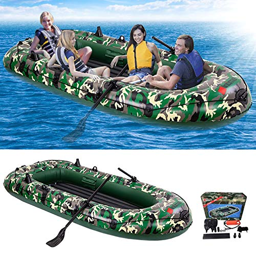 Inflatable Boat for Adult - 9Ft Raft Inflatable Kayak-4 Person Boat for Adults Fishing Boat Camouflage Kayak,Apply to Oce,Sea,Lake in Summer