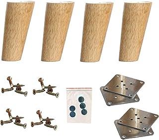 AGWa 4pcs cónicos patas de los muebles de madera Mid-Century Modern Pies Sofá pata del escritorio Pies del gabinete carg...