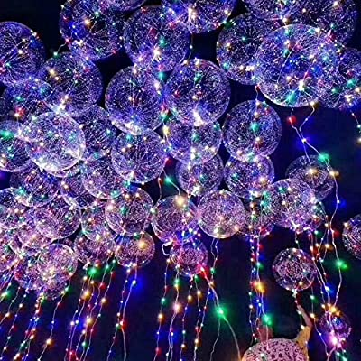 ElementDigital LED Balloon Light Up Transparent Balloons LED Multi Light for Christmas Birthday Cub Wedding and Party Battery 10 PCS
