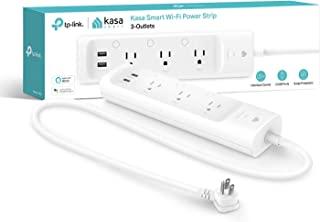 Kasa Smart (KP303 Plug Power Strip, Protector contra sobretensiones con 3 Tomas Inteligentes y 2 Puertos USB, Funciona con...