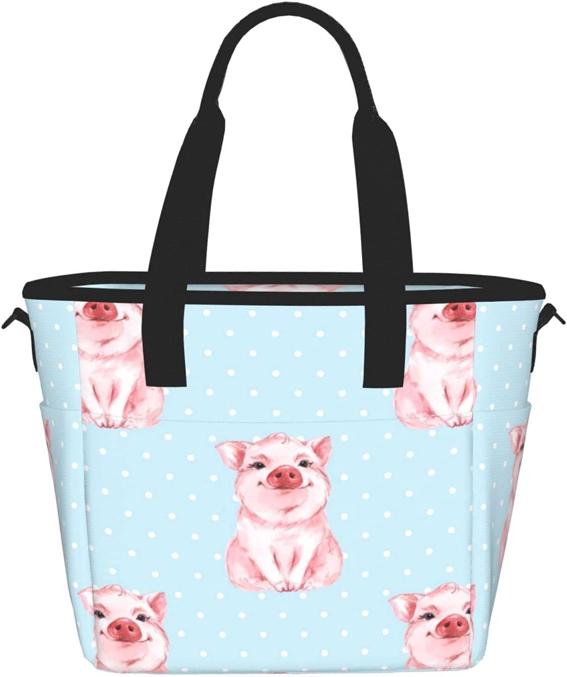 Pig with Polka Dot quality assurance Background Reusable Bag Tote Lunch Insulated 5 ☆ very popular