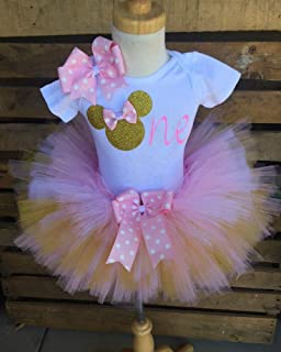 Minnie Mouse Birthday Tutu Outfit Set Dress Shirt First Birthday 1st Baby Light Pink and Gold