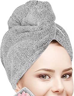 Hair Drying Towel, Organic Bamboo Hair Wrap Turban, Anti Frizz Super Quick Absorbent & Soft for Women Girl Wet/Long/Curly/...