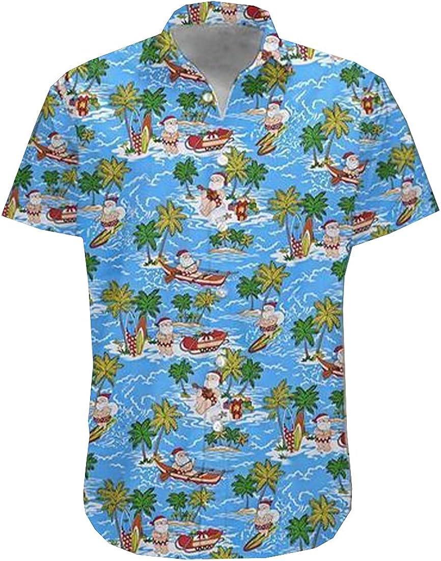 Tropical Christmas Hawaiian Shirts for Men - Summer Christmas Button Down Mens Hawaiian Shirts Short Sleeve Series 146