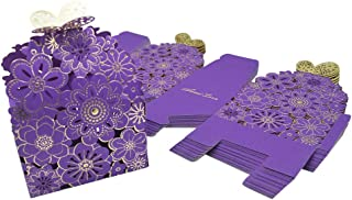 Kslong 50Pcs/Set Flower Butterfly Hollow Candy Box Cookie Gift Boxes Romantic Wedding Favors Cute Chocolate Box for Wedding Bridal Birthday Party Supplies (Purple, S)