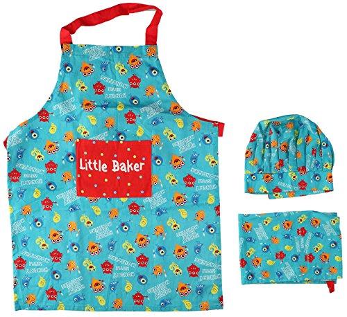 Kinder Kochset / Backoutfit, der kleine Chefkoch mit Schürze, Kochmütze und Küchentuch, Türkis mit Monstermotiv