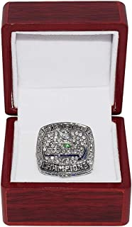 SEATTLE SEAHAWKS (Russell Wilson) 2013 SUPER BOWL XLVIII WORLD CHAMPIONS Rare Collectible Replica Silver NFL Football Championship Ring with Cherrywood Display Box