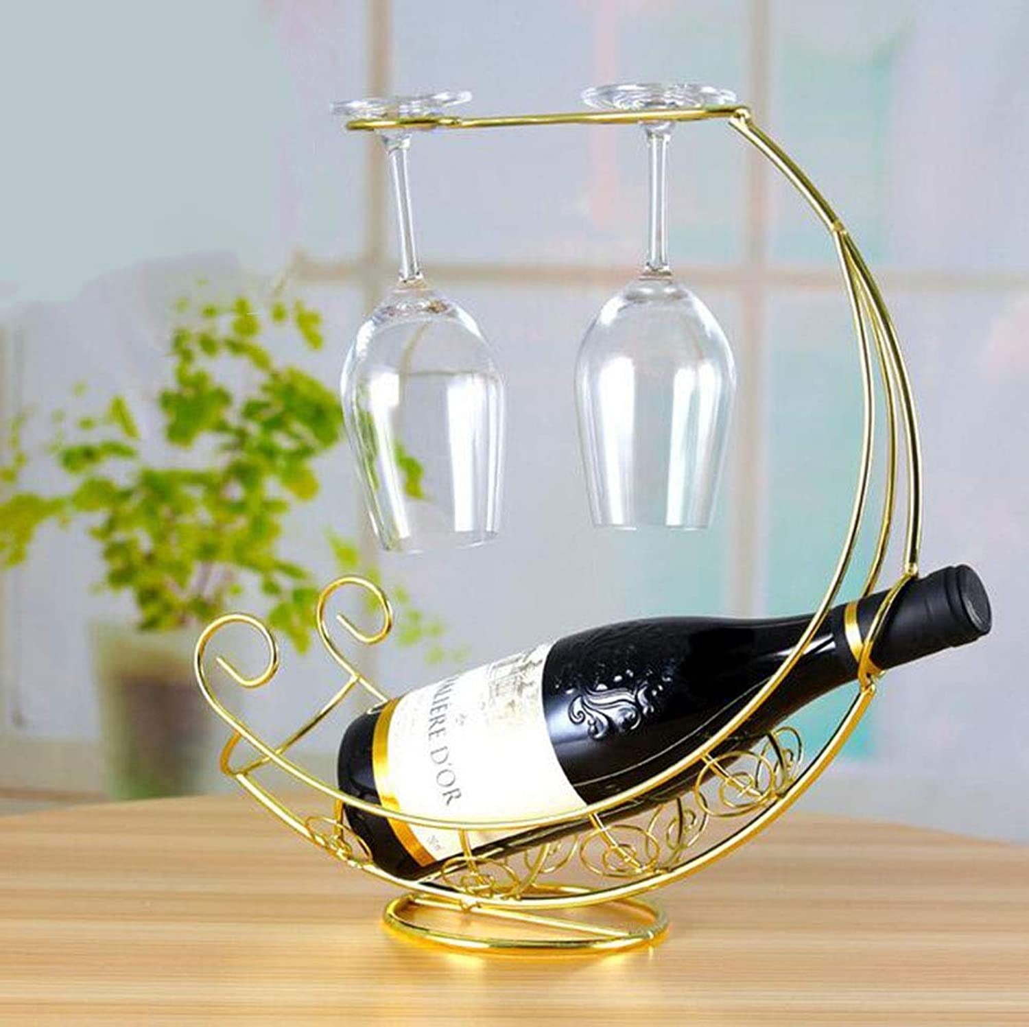 Red Wine Shelf European Wine rackle Goblet Upside Down Wine Glass Holder Home Modern Minimalist Creative Wrought Iron Ornaments set2pcs,gold,XXXL