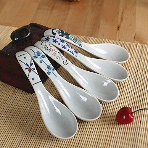 XTYMY xytmy Porzellan Suppe Löffel Blume Henkel Handbemalt Chinesische/Asiatische Reis Löffel für Appetizer Tableware-Set 5Stück.