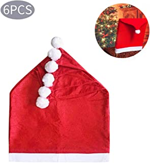 Christmas Chair Back Cover Santa Claus Hat Slipcovers - 6 Pcs Red Hat Chair Back CoversSets for Christmas Dinning Xmas Holiday Party Festive Decoration