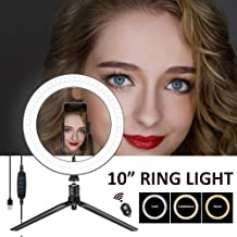 Ring Light with Tripod Stand, SONATA LED Camera Selfie Makeup Light with iPhone Tripod and Phone Holder for Halloween Makeup YouTube Video Photography Live Stream, Dimmable for iPhone Android Phone