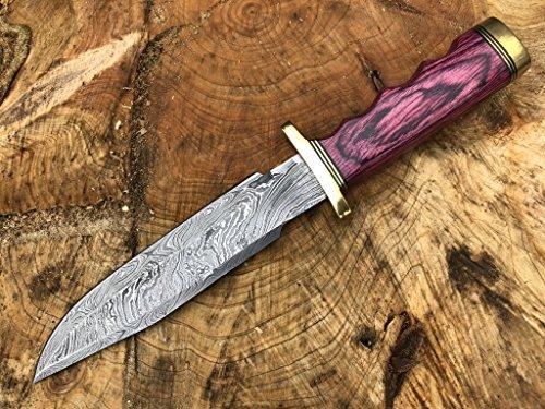 Perkin Knives Damastmesser Jagdmesser mit Scheide - Jagdmesser Bowie (Griff aus rotem Holz und Messing)