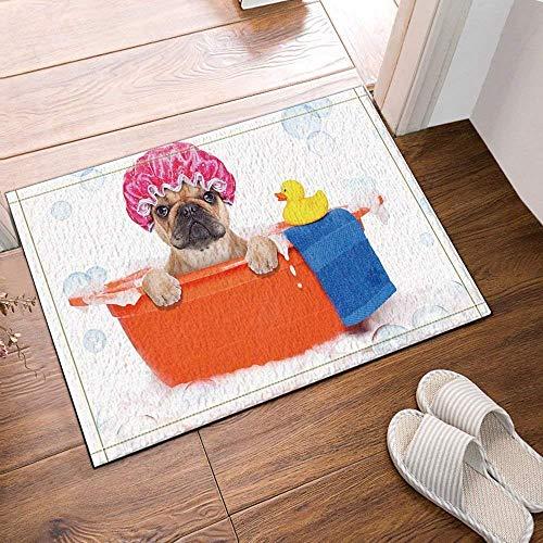 lovedomi Alfombra de baño con gorro de ducha y pato en la toalla, antideslizante, para entrada al aire libre, interior, 60 x 40 cm, alfombrilla de baño