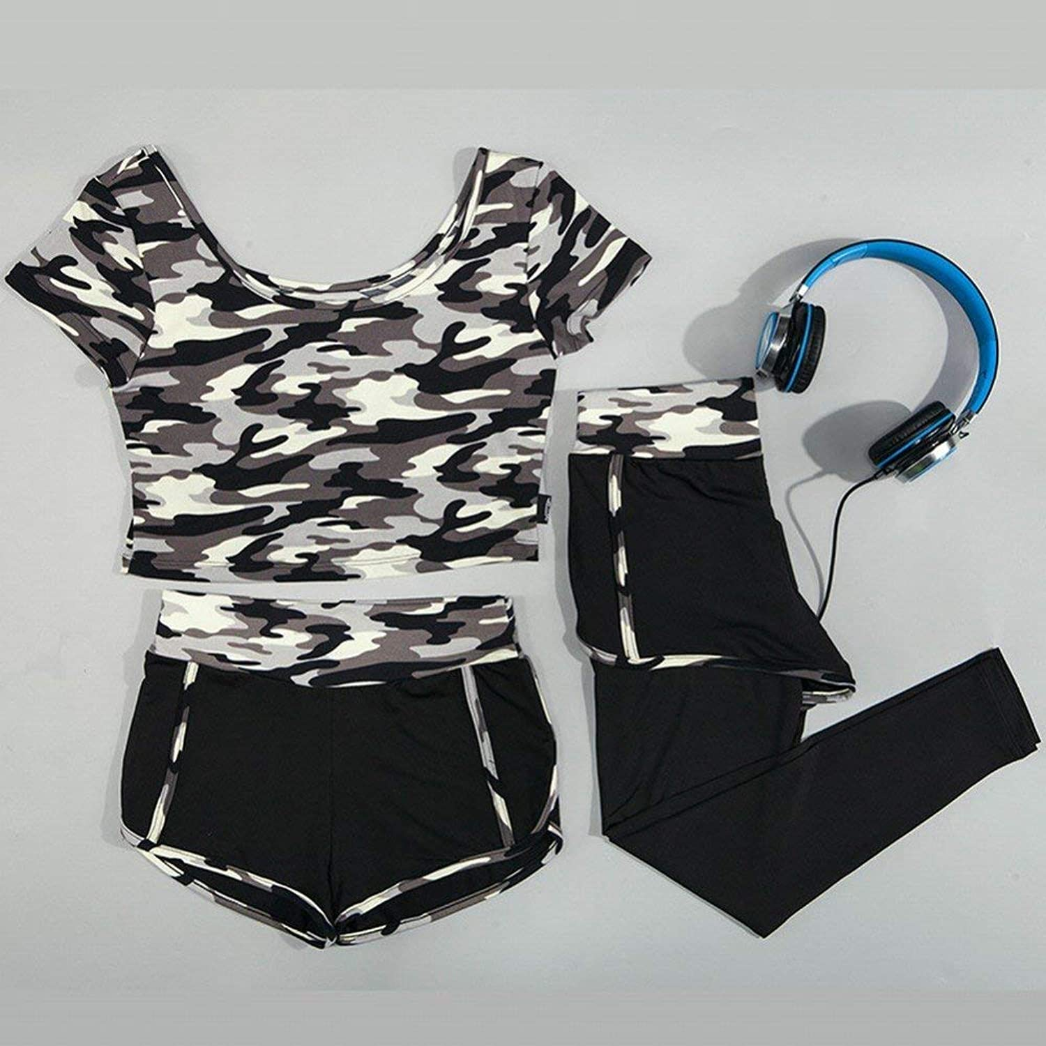 JINGB Spring Summer Yoga Sports Camouflage Workout Women Outoor Training Trio (color   Grey, Size   Large)
