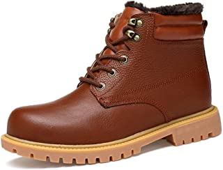 Sunny&Baby Ankle Boots for Men Work Boots Lace up Genuine Leather Rubber Sole Fleece Lined Solid Color Wear-resisiting Embossed Patchwork Durable (Color : Brown, Size : 8.5 UK)