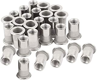 Qovydx 50Pcs 1//2-13UNC Rivet Nuts Carbon steel Flat Head Rivnut Threaded Insert Nutsert