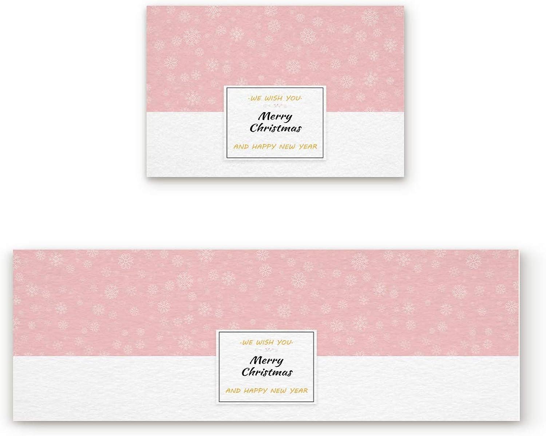 Aomike 2 Piece Non-Slip Kitchen Mat Rubber Backing Doormat Pink White Snowflake Merry Christmas Runner Rug Set, Hallway Living Room Balcony Bathroom Carpet Sets (19.7  x 31.5 +19.7  x 63 )