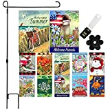 Garden Flag Set of 10 - 12 x 18 Inch Yard flag Decorations Double Sided Banner for Outdoor Porch with Anti-Wind Clip and Rubber Stopper Garden Stake Holder