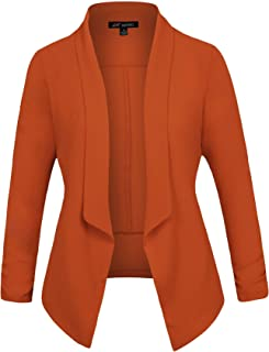 Women's 3/4 Sleeve Blazer Light Weight Chiffon Casual Open Front Cardigan Jacket Work Office Style with Plus Size