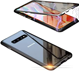 Compatible for Samsung Galaxy S10 Case Magnetic Adsorption Magnets Aluminum Frame Transparent Front and Back Tempered Glas...