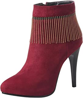 Aubbly Women's Classic Pointed Toe Ankle High Stiletto Heels Side Zipper Boots Zip Shoes Casual Short Booties