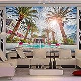Fondo de pantalla personalizado Foto 3D Playa de palma de coco Murales Piscina Salón Tema Hotel Fondo Wall300x210cm