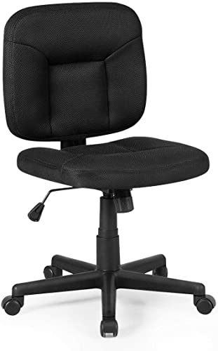 popular Giantex Low-Back Office Chair, Ergonomic Armless Computer Desk Chair, Swivel Mesh Executive Chair w/Adjustable Height & discount Lumbar Support, Padded Seat wholesale Task Chair, Home Office Furniture (Black) outlet sale