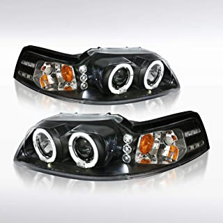 Autozensation For Ford Mustang Black LED Dual Halo Projector Headlights Head Lamps Pair