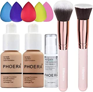 Phoera Foundation 104 and 105، Full Coverage Foundation، Hilareco Concealer Foundation Flawless 30ml Natural Matte Oil Control Motion Facial لك صورت زنان دختر (Buff Beige
