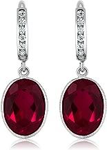 Gem Stone King Oval Shape Red Created Ruby 925 Sterling Silver Dangle Earrings