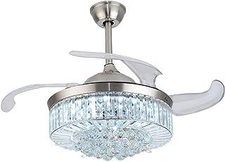 OUKANING ventilador de techo con iluminación y control remoto ventilador luz cristal LED lámpara de techo ala retráctil lámpara de techo para dormitorio sala comedor (42 inch)