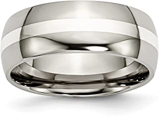Titanium 925 Sterling Silver Inlay 8mm Wedding Ring Band Precious Metal Fine Jewelry For Women Gift Set
