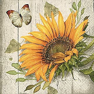 Fall Decor Decorating Ideas Paper Napkins Rustic Home Decor Sunflower Decor Cocktail Napkins 5