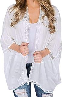 df190854940 Femmes Veste en Mousseline de Soie Cardigan Kimono Ouvert Haut Chemise à  Demi-manchs Pas